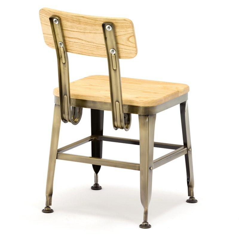 Metal Dining Chairs With Ash Wood GA501C