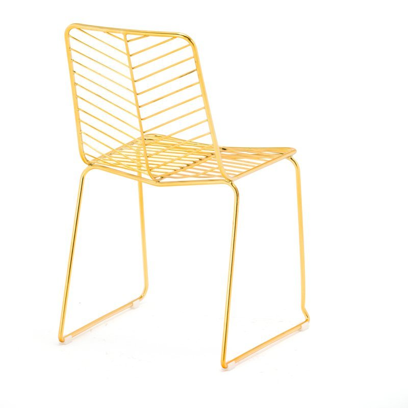 Wholesale armless gold bar chair /industrial metal wire high bar stool with cushion GA2204C-45ST