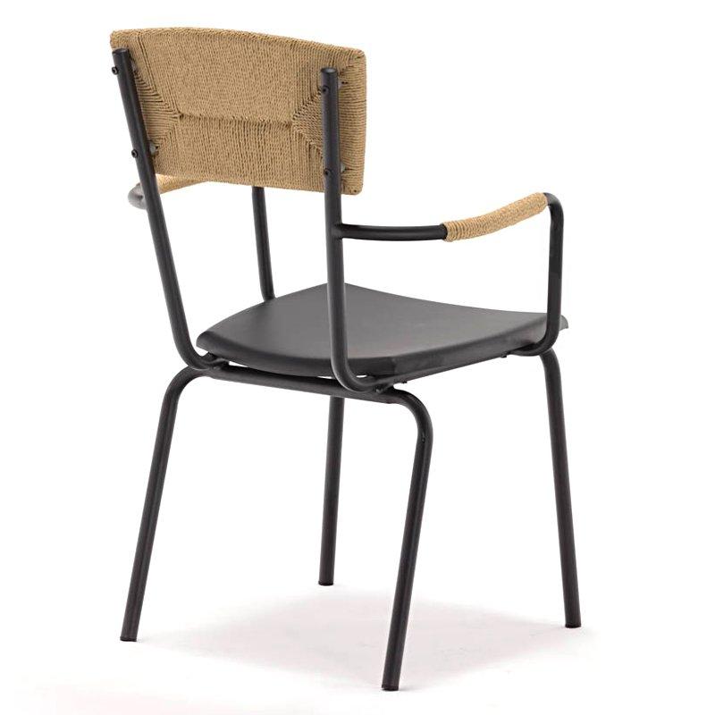 metal frame power coating stackable wooden outdoor arm chair GA2801C