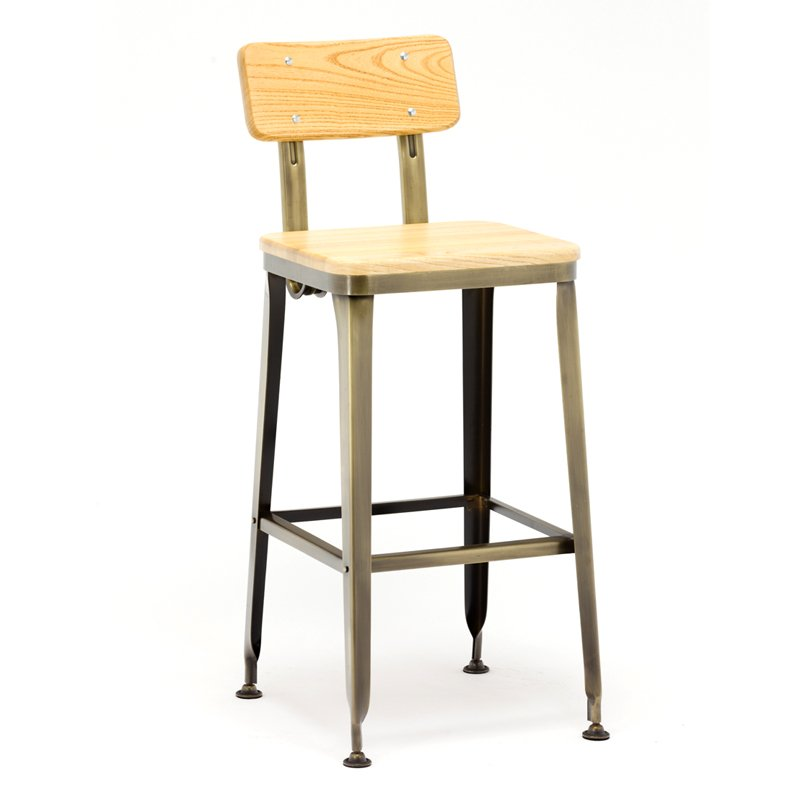 Industrial Bar Stool With Ash Wood Seat GA501C
