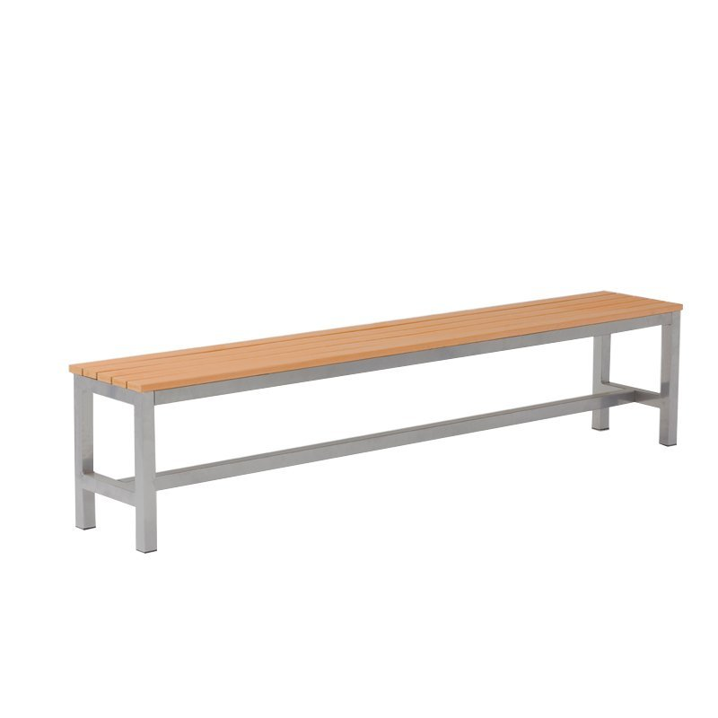 Outdoor park plastic wood picnic table bench set with metal legs