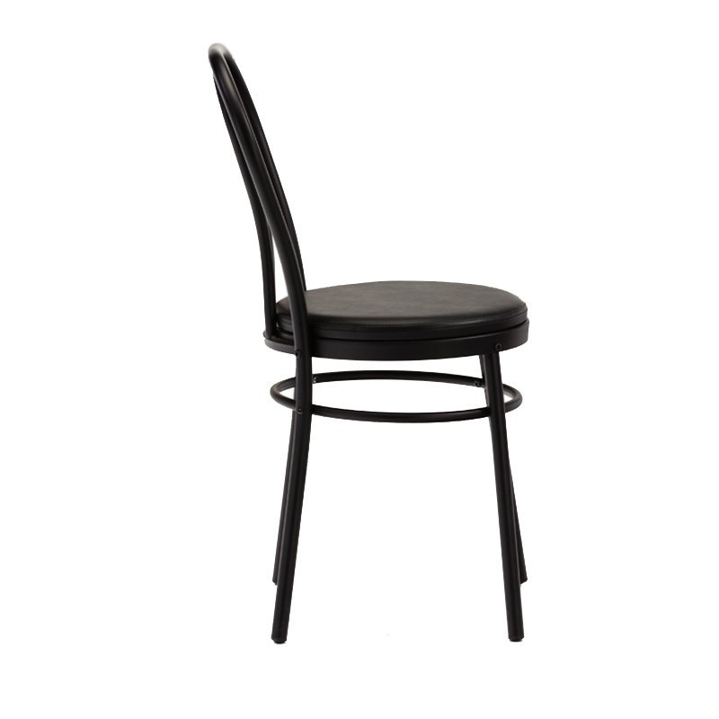 Modern Black Metal Dining Chairs with PVC cushion  GA901C-45STP