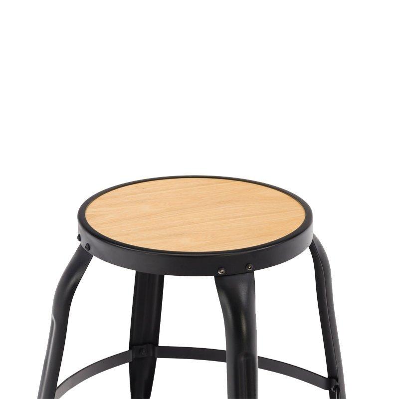 Metal Frame Wooden Seat  Low Bar Stool GA301C-45STW