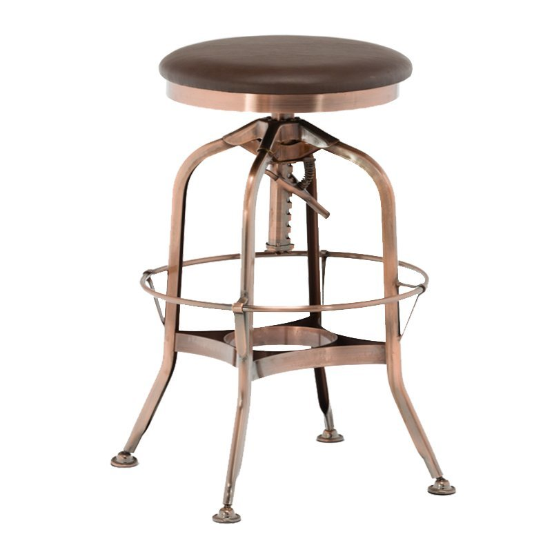 Vintage Bar Stool Metal Frame Wood Top Adjustable Height Swivel Industrial GA401C-65STP
