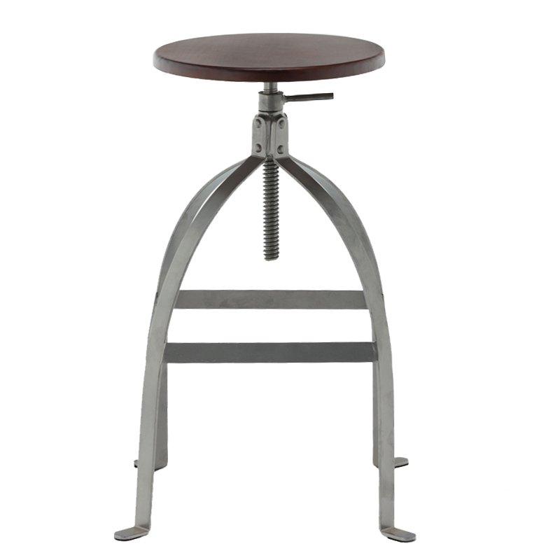 Industrial Metal Round Adjustable Leather Bar Stool GA602C-65STW