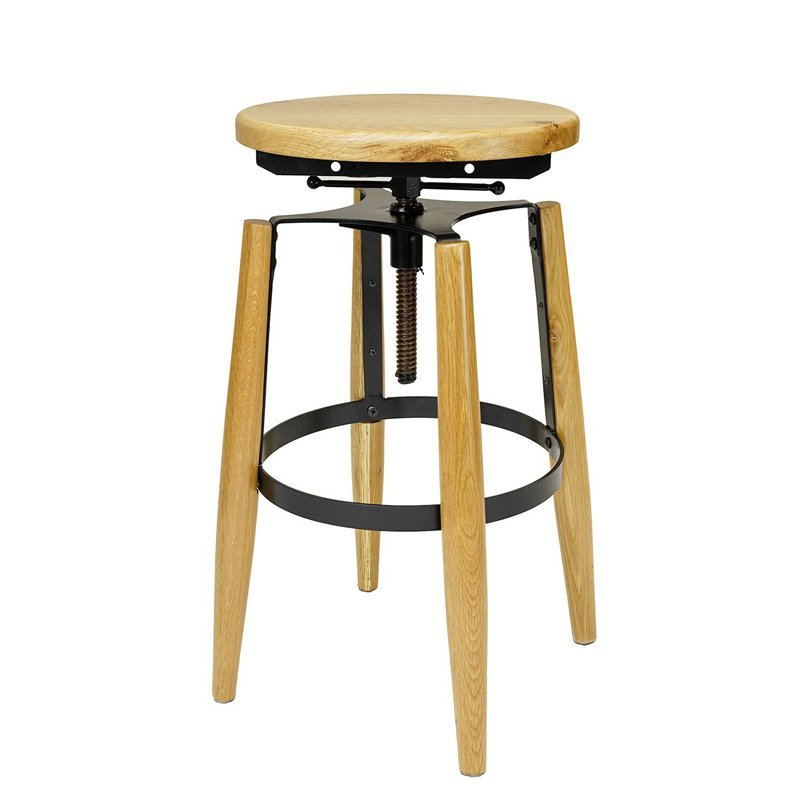 Stackable restaurant used high metal vintage industrial bar stool with solid wood seat GA604C-65STW