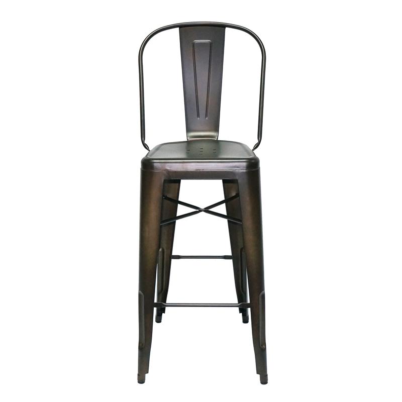 Coffee Rusty Steel Bar Stool with High Back GA101C-75ST