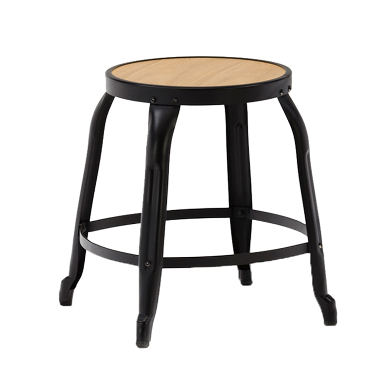 Metal Frame Wooden Seat  Low Bar Stool GA301C-45STW