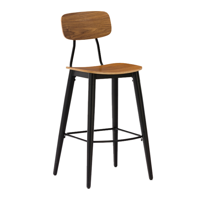 Industrial Metal Restaurant Chair With Wooden Seat and Backrest GA2001C-75STW
