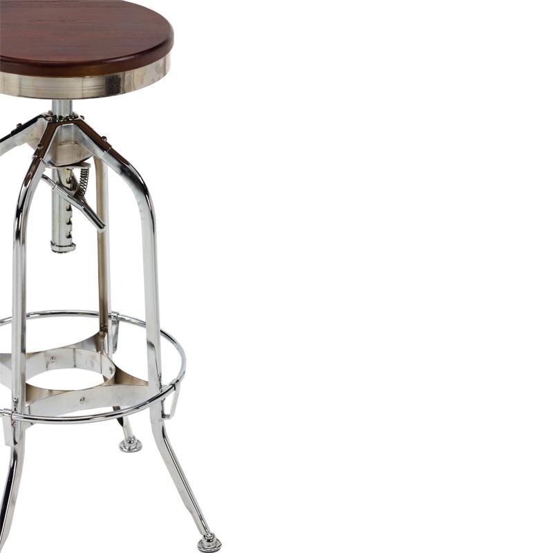 Wholesale vintage adjustable industrial bar stool With Ash Wood Seat GA401C