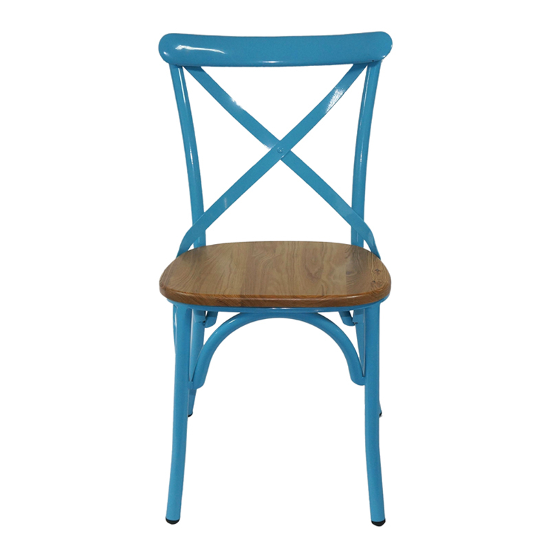 Stackable cross back metal restaurant chair with round wooden seat GA1101C-45STW