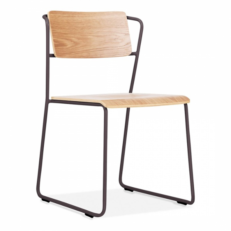 bent wood stacking hotel dining chair with metal steel legs GA3601C-45STW