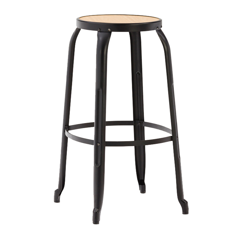 USA industrial wooden seat metal cafe high stackable bar stool GA301C-75STPW