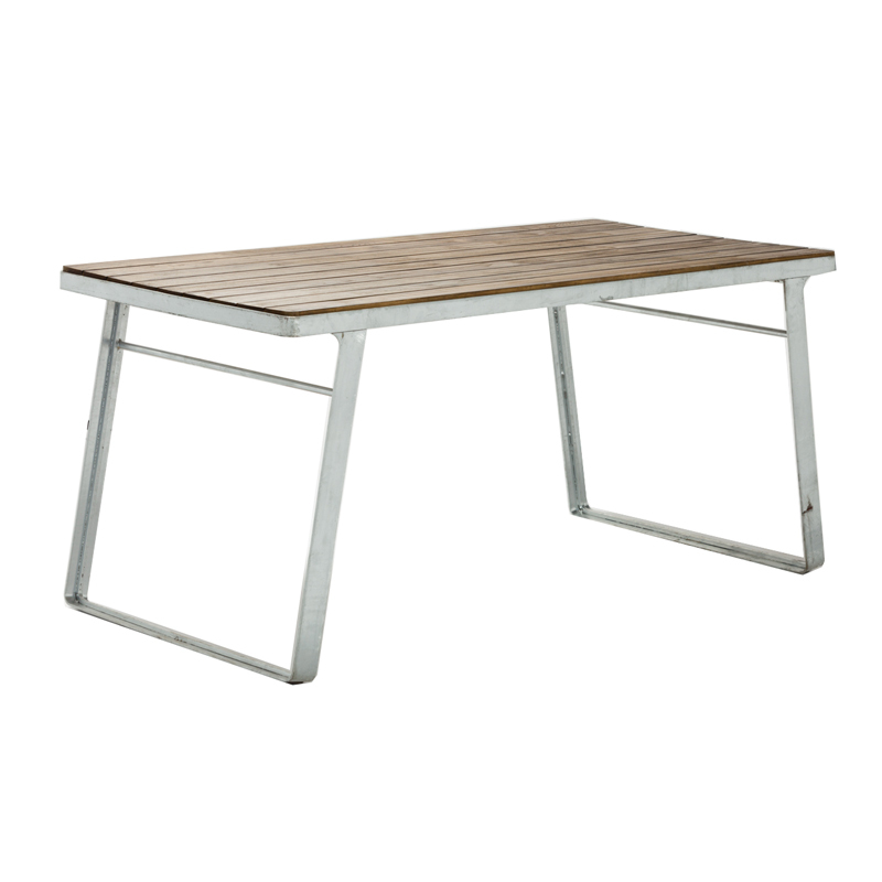 Commercial restaurant furniture metal wire base wood slat top dining table GA3101T