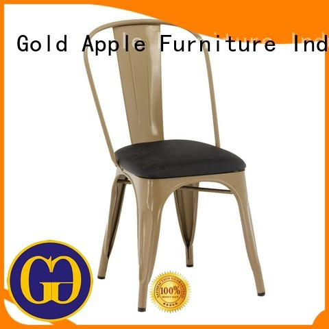 upholstered dining chairs with metal legs restaurant powder Gold Apple Brand leather and metal chair
