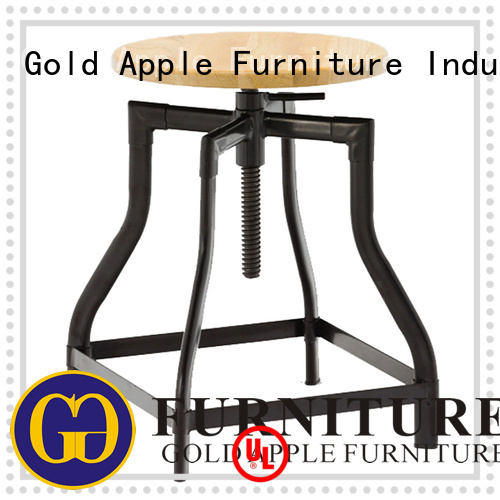 wooden dining chrome low stool steel Gold Apple Brand