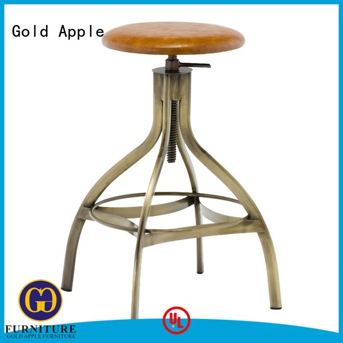 Gold Apple Brand vintage industrial cafe upholstered bar stools with backs and arms stand