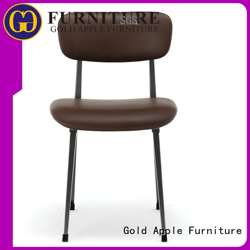 pvc leather restaurant upholstered dining chairs with metal legs Gold Apple Brand
