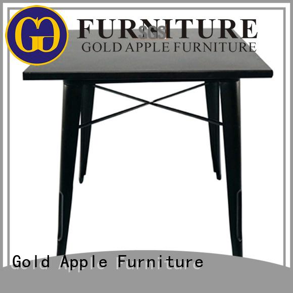 home Custom iron legs dark wood round dining table Gold Apple room
