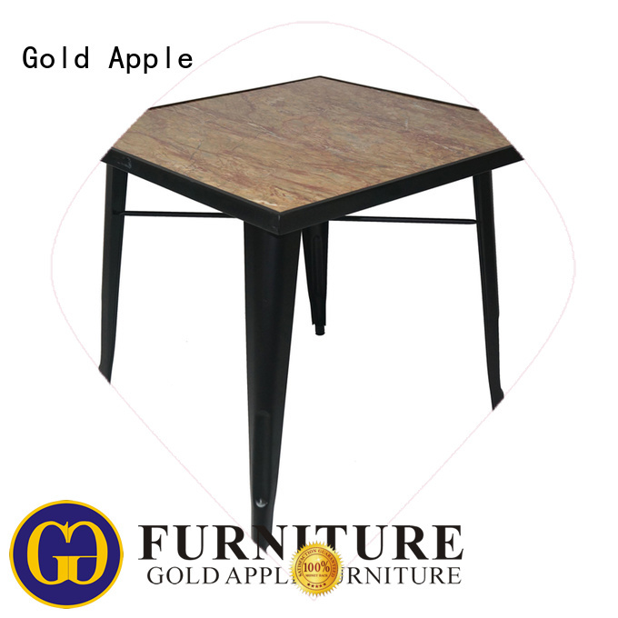 Gold Apple Brand metal simple dark wood round dining table manufacture