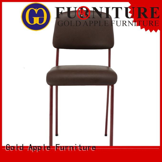 strong upholstered dining chairs with metal legs leather Gold Apple company