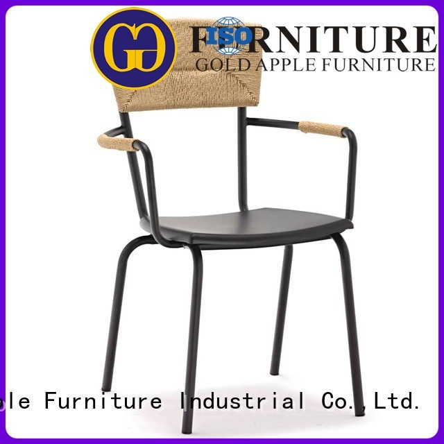 Hot metal dining chairs with arms soft Gold Apple Brand