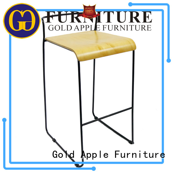 wooden stool chair adjustable metal round Gold Apple Brand